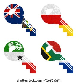 Nation Flag. Key recycled paper on white background. ( Somaliland , South Africa , South Georgia and the South Sandwich Islands , South Ossetia )