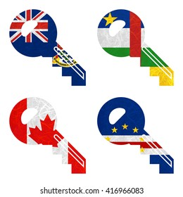 Nation Flag. Key recycled paper on white background. ( Canada , Cape Verde , Cayman Islands , Central African Republic )