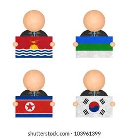 Nation Flag. Label recycled paper on white background. ( Kiribati , Komi , Korea North , Korea South )