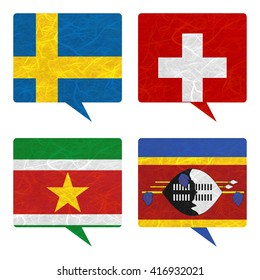 Nation Flag. Speech-balloons recycled paper on white background. ( Suriname , Swaziland , Sweden , Switzerland )
