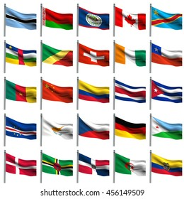 nation flags on white background 3d rendering