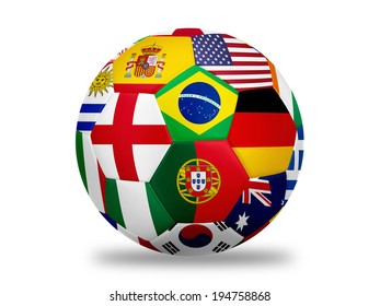 nation team flag soccer ball Isolated on white with clipping path