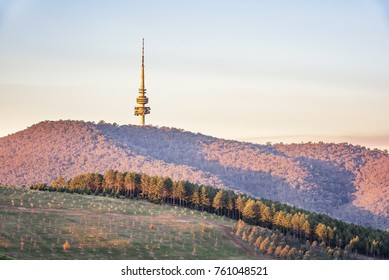 National Arboretum Canberra and Black Mountain at Sunset in Canberra