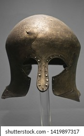 The National Archaeological Museum, Athens, Greece. June 2018: Ancient Greek hoplite helmet