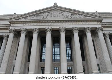 National Archives Building, facade in Washington DC, USA