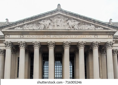 National Archives facade in Washington DC, United States