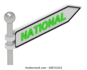 NATIONAL arrow sign with letters on isolated white background