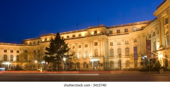National Art Museum from Bucharest, Romania by night - the old Royal Palace