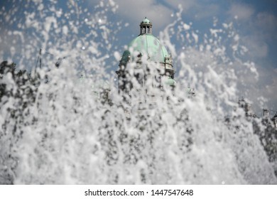 National Assembly of Serbia, seen throw fountain splashes