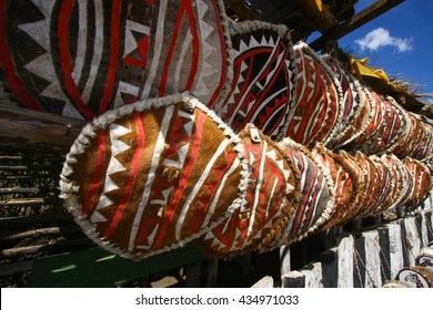 National attributes Masai warriors. Tradition hand made for sale at market in Kenya. Africa.