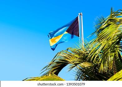 National Bahama flag and palm tree, clear blue sky