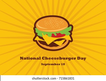 National Cheeseburger Day. Burger cartoon. Cheeseburger clip art. Important day