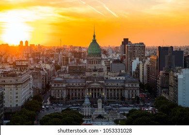 National Congress Building of Buenos Aires during sunset