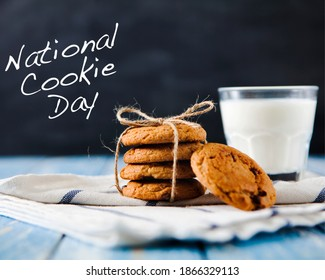 National cookie day , chocolate cookies , Biscuit, Cookie day poster, 4 December, american food holiday