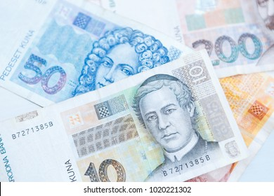 National Croatian Kuna currency notes.Paper note of Hrvatska Kuna, money from Croatia.