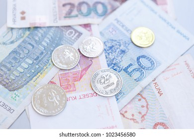 National Croatian Kuna currency notes.Paper note of Hrvatska Kuna and metal coin Lipa. Money from Croatia.