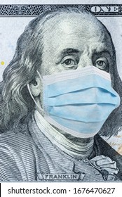 The national currency of the United States is 100 dollars in a medical mask. Vertical frame
