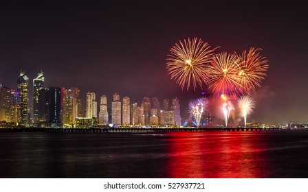 National Day fire works in Dubai Marina