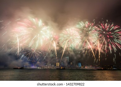 National Day Fireworks Over Victoria Harbor in Hong Kong, China