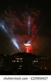 National Day of Turkey celabrating  with fireworks  at Atakule in Ankara.