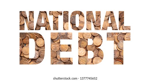 National Debt Text and Pile of Coins, Pennies