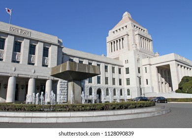 National Diet Building which is  the center of Japan's politics as it is the place where Diet sessions are helding in Tokyo, Japan – jan 24, 2011
