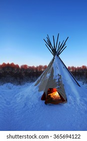 National dwelling Indians of South America. Wigwam unique mobile home. Provides individual comfort at any time of the year.Chelyabinsk region, Photo December 4, 2016.