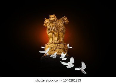National Emblem of India with White pigeon