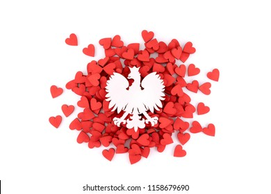 The National Emblem of Poland with many red hearts