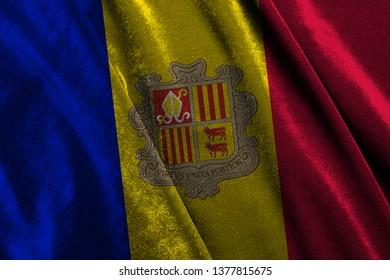 The national flag of Andorra on the velvet