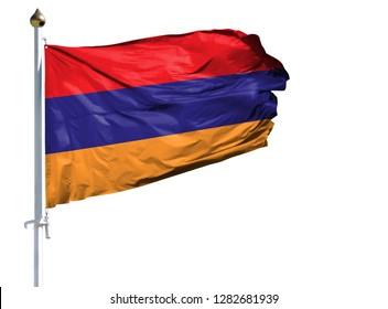National flag of Armenia on a flagpole isolated on white background