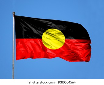 National flag of Australian Aboriginal on a flagpole