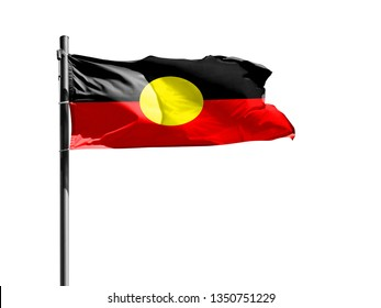National flag of Australian Aboriginal on a flagpole isolated on white background
