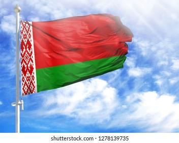 National flag of Belarus on a flagpole
