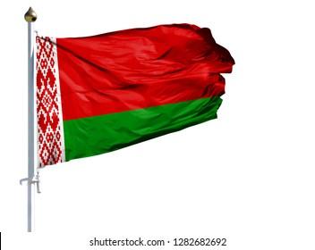 National flag of Belarus on a flagpole isolated on white background