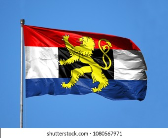 National flag of Benelux on a flagpole