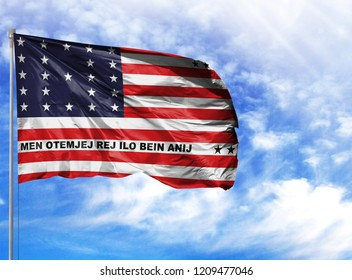 National flag of Bikini Atoll on a flagpole