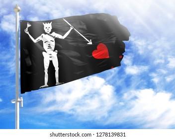 National flag of Blackbeard Pirate on a flagpole