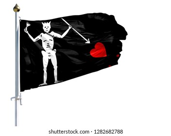 National flag of Blackbeard Pirate on a flagpole isolated on white background