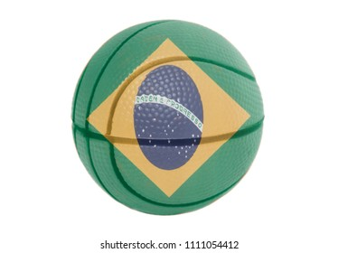 National flag of Brazil on basketball ball isolated on a white background