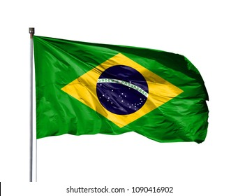 National flag of Brazil on a flagpole, isolated on white background