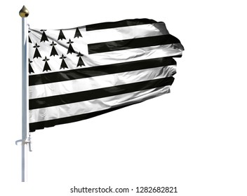 National flag of Brittany on a flagpole isolated on white background