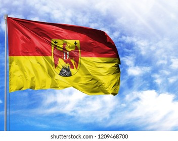 National flag of Burgenland on a flagpole