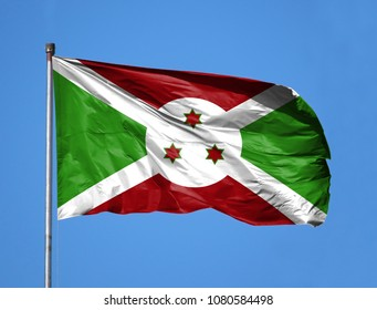 National flag of Burundi on a flagpole