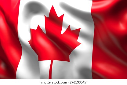 National Flag of the Canada waving in the wind