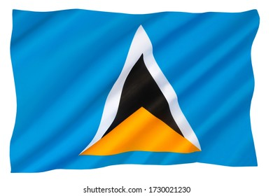 The national flag of the Caribbean island of Saint Lucia - Adopted in 1967