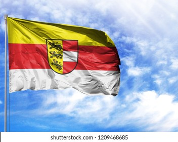 National flag of Carinthia on a flagpole