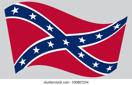 National flag of the Confederate States of America. Known as Confederate Battle, Rebel, Southern Cross, Dixie flag. Patriotic symbol, banner. Historical flag of the CSA waving, gray background