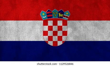 National Flag of Croatia background close up