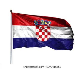 National flag of Croatia on a flagpole, isolated on white background